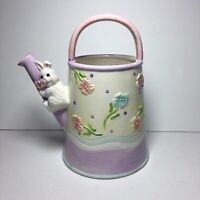 Ceramic Spring Home Decor Watering Can Easter Bunny Flowers Pitcher Vase