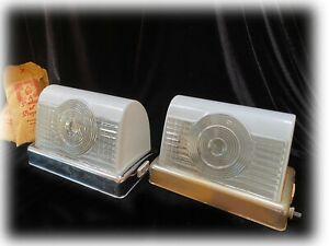 1950 Bathroom Vanity Chrome Glass Shade Art Deco Light Fixture Progress Mfg PAIR