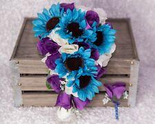 Cascade Purple White Malibu Blue Turquoise Rose Sunflower Wedding Bouquet Set