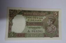 1937 India 5 Rupees Banknote