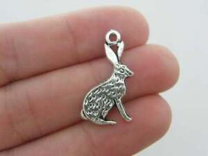 10 Hare rabbit charms antique silver tone A255