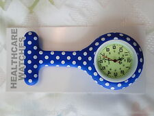 NEW FIRST HAND HEALTHCARE NURSE THERAPIST ROUND BLUE POLKA DOT SILICONE WATCH