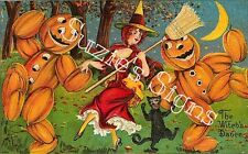 Fabric Block Vintage Halloween Witch Dance LRG 8x11