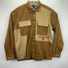 Tommy Hilfiger Mens Brown Size 2xl Button Down Dax Custom Fit Military #187