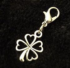 Four Leaf Clover Bracelet Charm Clip Shamrock Luck Irish Lucky Ireland Flower UK