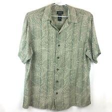Claiborne Men's M 100% Silk Short Sleeve Button Front Shirt Gray Luxe Soft Leaf