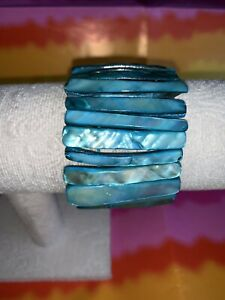 Turquoise Blue Mother Of Pearl Shell Stretch Bracelet Chunky Statement Piece