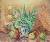 """IMPRESSIONIST PER FREDRIKS 1887–1947 """"STILLLEBEN MIT TULPEN & ÄPFEL"""" 46 x 55 cm"""