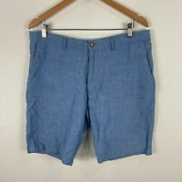 Zara Mens Linen Shorts 34 Blue Chino Pockets