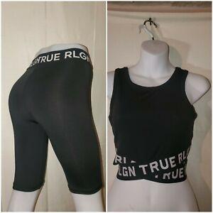 True Religion Women's Set Sport Button Size (S) Top (M)Black Excelent Condition
