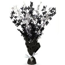 """16"""" Happy 30th Birthday Black Sparkle Foil Weight Table Centerpiece Decoration"""