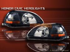 Fit For 1996-1998 HONDA CIVIC HEADLIGHTS JDM BLACK 1996 1997 1998