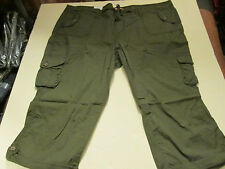 SO CUFFED CARGO CAPRIS WOMENS SIZE 24 -OLIVE- NWT