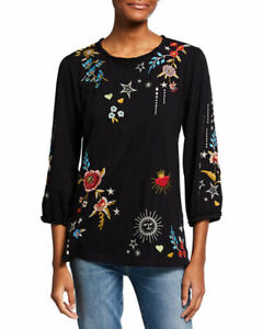 Johnny Was MARIS PUFF Long Sleeve Embroidery Black Tee Shirt Blouse Flower L NEW