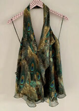 $260 Haute Hippie Peacock Silk Halter Top Blouse Cowl Neck MUST SEE Size M
