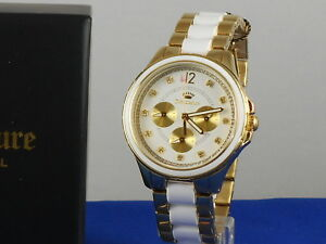 Juicy Couture Gold Stainless Steel White Lacquer GWEN Multi Function Watch $250