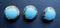 3 ANTIQUE PORCELAIN STRING CHARM FASHION BUTTONS - Beautiful