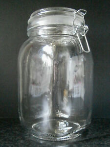 VINTAGE SQUARE GLASS KITCHEN STORAGE JAR with PLASTIC SEAL & WIRE CLAMP