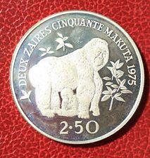 Zaire - Magnifique monnaie de 2 1/2 Zaires  1975 en argent -Gorilles - WWF proof
