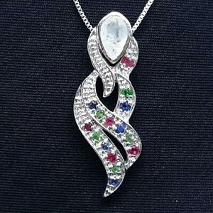 World Class 1.15ctw Moonstone, Sapphire, Ruby & Emerald 925 Silver Pendant 4g