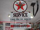 Antique style vintage porcelain look Texaco dealer service gas pump sign set