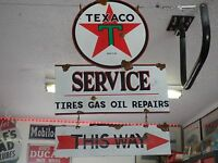 Antique style vintage porcelain look Texaco dealer service gas pump sign set