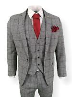Mens 3 Piece Suit Grey Check Tweed Slim Fit Peaky Blinders Vintage Wedding