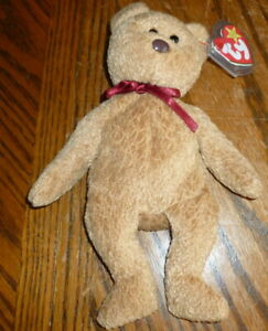 RARE TY ORIGINAL BEANIE BABY 'CURLY' 1993 RETIRED BEAR WITH ERRORS