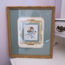 Pretty hand painted & drawn cherub angel water color painting with roses framed