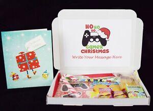 Personalised Christmas Kids Gaming Hamper Pamper Sweets & Card for Boys Girls