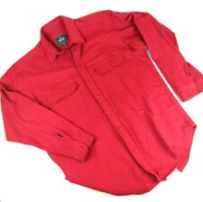 Vintage Woolrich Classic Mens Red Flannel Chamois Long Sleeve Shirt Large