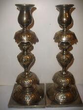 Antique Judaica Norblin Silverplate Shabbat repousse Candlestick Warszawa Poland