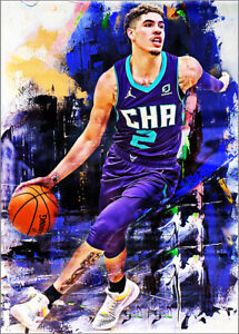 2021 Lamelo Ball Charlotte Hornets 8/25 Art ACEO Print Card By:Q