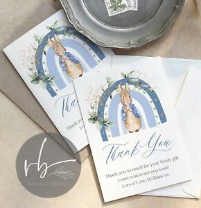 10 Personalised Peter Rabbit Rainbow Thank You Cards Christening, Party