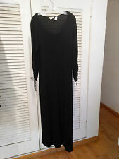 J. JILL SLINKY SLIMMING LONG BLACK DRESS w RUCHED TIE LONG SLEEVES XL
