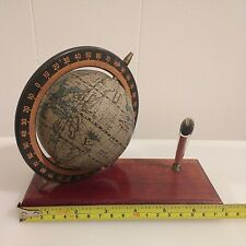 Desktop Globe Atlas / Pen Holder Traveller Novelty Gift Wood Base Spins