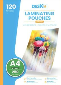Deskit A4 Laminating Pouches – Gloss – 120 Sheets – 250 Microns – Extra Strong
