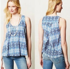 Anthropologie Meadow Rue Merlon Split Back Blue Boho flared TUNIC TANK TOP XS