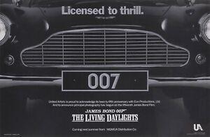 "The Living Daylights repro UK advance Grille quad poster 30x40"" James Bond rare"