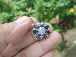 NATURAL Deep Blue SAPPHIRE & White CZStones 925 Sterling Silver Flower PENDANT