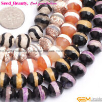 """10mm Round Faceted Loose Beads Banded Agate Stripe Jewelry Making Strand 15"""" DIY"""