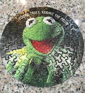 """Vintage 1977 Springbok Yours Truly Kermit the Frog 7"""" Mini Round Jigsaw Puzzle"""