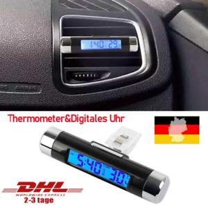 2-IN-1 Mini Auto Thermometer Digitales Uhr LED Digitaluhr für PKW Auto LKW KFZ