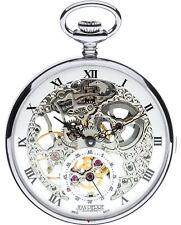 Skeleton Pocket Watch Open Face 17 Jewelled Mechanical Chromed Case - Gift Box