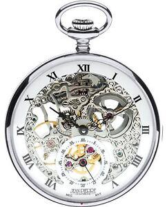 Skeleton Pocket Watch Open Face 17 Jewelled Mechanical Chromed Case Gift Box