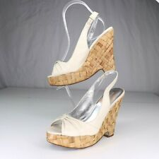 Banana Republic Ivory Peep Toe Slingback Sandals Womens 6 Woven Wedge High Heel