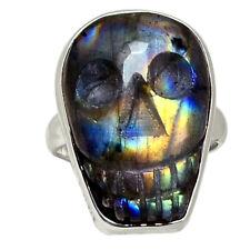 Skull Bone - Labradorite 925 Sterling Silver Ring Jewelry s.6 28421R
