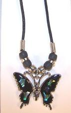 LARGE PAUA SHELL BUTTERFLY BLACK ROPE NECKLACE womens ladies jewelry pendant new