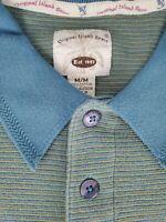 Original Island Sport Mens Green Blue Striped Polo Shirt Size Medium NWT