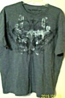 mens  size XL t shirt angels of glory wing gray marled cotton short sleeve 27 L
